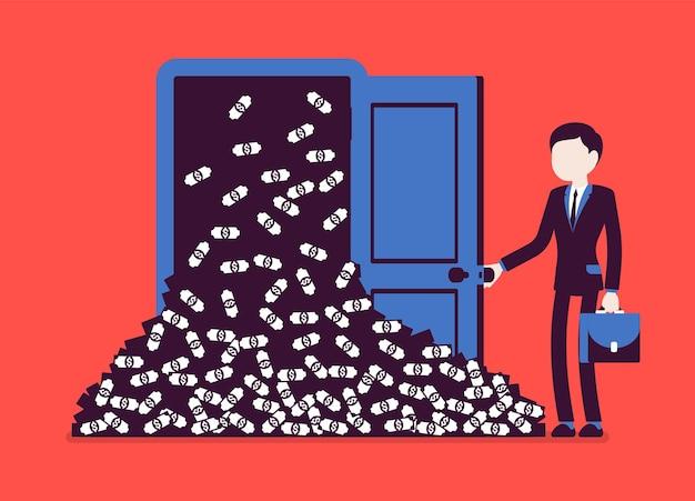 Avalanche d'argent gros tas d'argent et homme d'affaires. un gestionnaire qui réussit ouvre une porte porte-bonheur pleine de dollars, obtient une arrivée soudaine de bénéfices, une augmentation financière rapide. illustration vectorielle, personnages sans visage