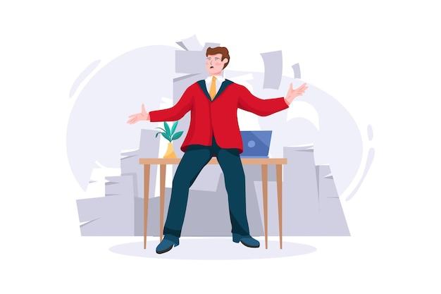 Avalanche de papier pour concept d'homme d'affaires