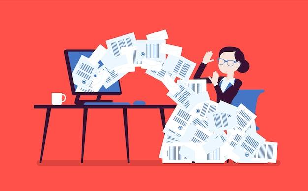 Avalanche de papier pour femme d'affaires