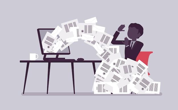 Avalanche de papier pour homme d'affaires. employé de bureau masculin surchargé de paperasse à partir d'un ordinateur, d'un tas de lettres commerciales et de documents en ligne, employé occupé. illustration vectorielle avec des personnages sans visage