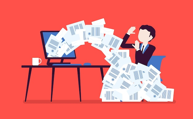 Avalanche de papier pour homme d'affaires