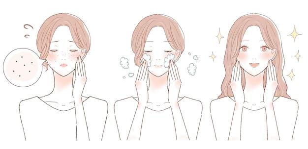 Avant et après des femmes souffrant de pores assombris. sur fond blanc.