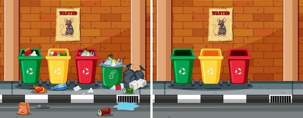 Avant et après le nettoyage de la rue sale