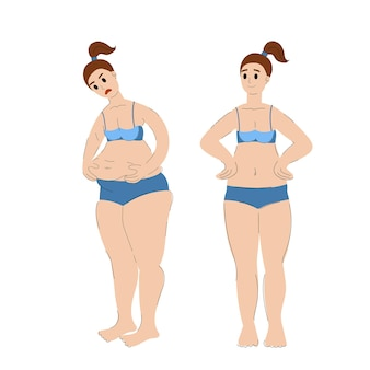 Avant et après la prise de poids et la perte de poids femme mince et grosse illustration vectorielle stock