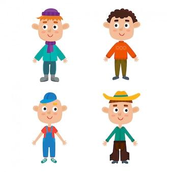 Avant de modèle de corps de jeunes garçons européens. garçons de dessin animé mignon isolés. illustration des garçons à la mode aux cheveux roux, blonds, bouclés et bruns. vêtements de mode mignons pour les garçons.