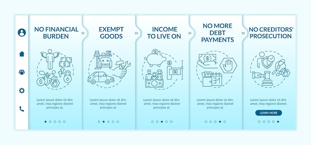 Avantage d'être un modèle d'intégration sans crédit. plus de paiements de dette. aucune poursuite contre les créanciers. site web mobile réactif avec des icônes. écrans d'étape de visite virtuelle de la page web. concept de couleur