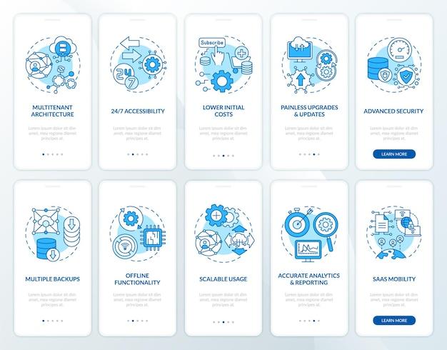 Avantages du logiciel en tant que service écran de la page de l'application mobile d'intégration avec ensemble de concepts. mises à jour, instructions pas à pas des fonctionnalités graphiques. modèle d'interface utilisateur avec illustrations en couleurs rvb