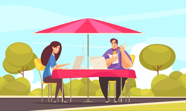 Avantages de l'emploi flexible à distance composition comique plate avec quelques pigistes travaillant en plein air sur la terrasse du café