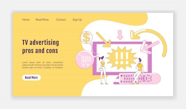 Avantages et inconvénients de la publicité télévisée modèle de silhouette plate de page de destination. présentation de la page d'accueil du marketing numérique. interface vidéo d'une page de site web avec personnage de dessin animé. bannière web, page web