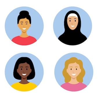 Avatahs de jeunes femmes de différentes nationalités. afro-américains, asiatiques, musulmans, européens.