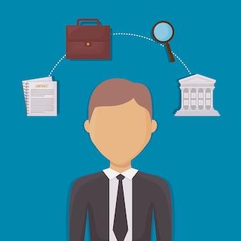 Avatar avocat et la justice et la loi des icônes connexes autour de fond bleu