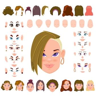 Avatar de bricolage. coiffure de constructeur de visage féminin, forme de visage, yeux et sourcils.