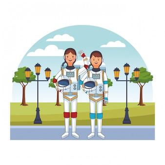 Avatar couple astronaute