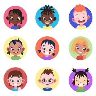 Avatar d'enfants. visages enfance mignon enfants garçons filles avatars tête enfant profil portrait personnage web utilisateur