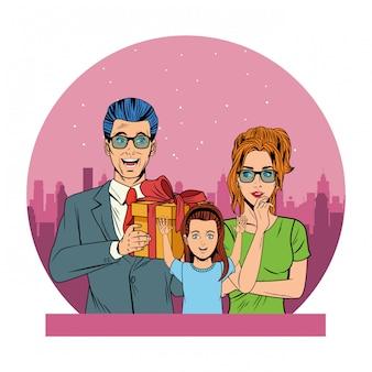 Avatar de famille avec boîte cadeau pop art