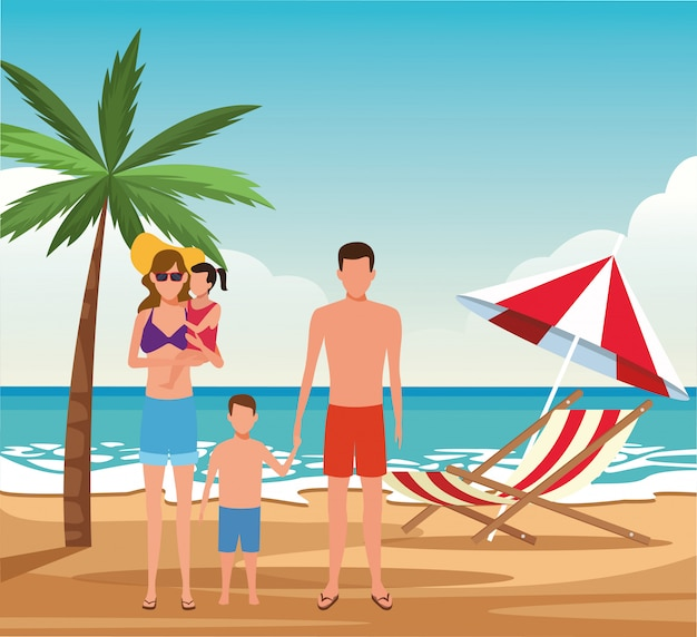 Avatar famille et enfants portant des maillots de bain à la plage