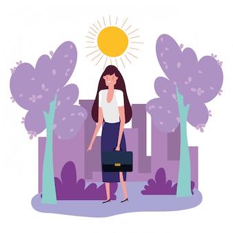 Avatar de femme d'affaires avec valise
