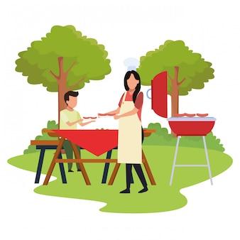Avatar femme et garçon dans un barbecue