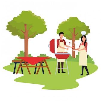 Avatar femme et homme cuisinant dans un barbecue