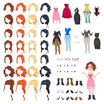 Avatar d'une femme vector illustration des objets isolés 7 coiffures avec 4 couleurs chacune un 10 robes différentes 3 verres 6 yeux couleurs 9 chaussures