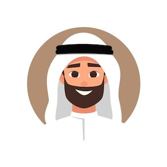 Avatar de l'homme arabe de dessin animé avec une émotion heureuse