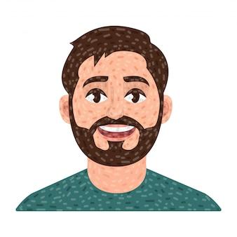 Avatar homme barbu, portrait de vecteur de l'homme