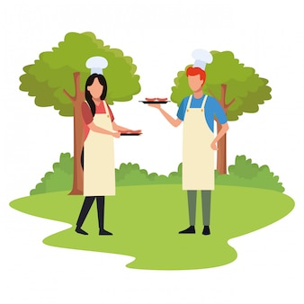 Avatar homme et femme avec de la nourriture