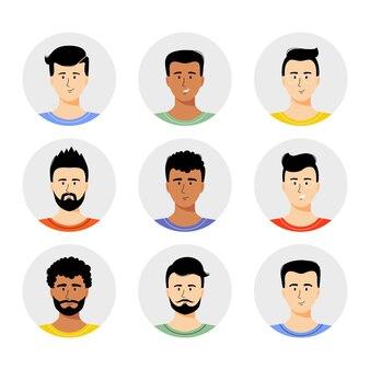 Avatar de l'homme mis en illustration vectorielle portrait de jeunes garçons avec un style de cheveux différent isolé sur blanc
