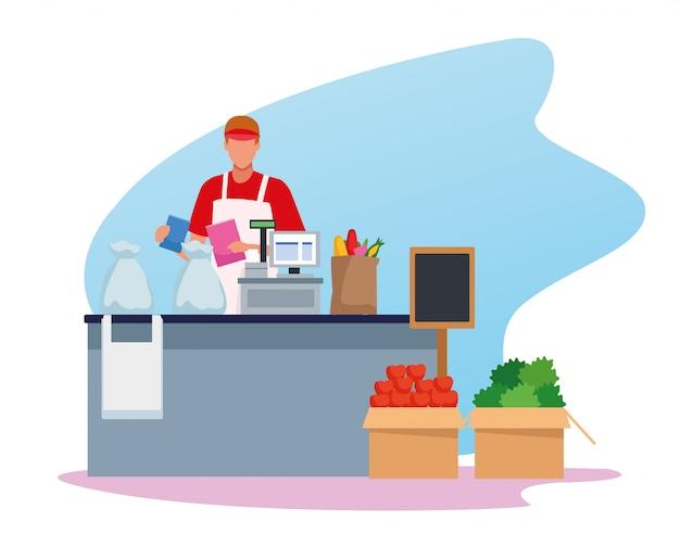 Avatar homme ouvrier dans un supermarché caisse enregistreuse avec épicerie sur le groupe