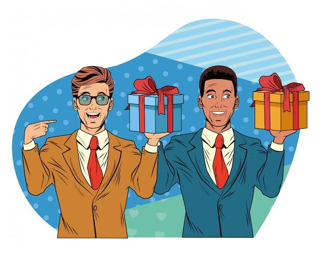 Avatar hommes avec boîte cadeau pop art