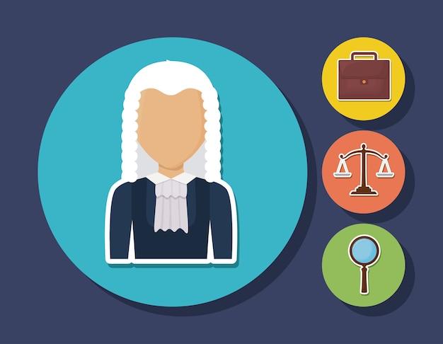 Avatar juge et droit et la justice liés icônes sur les cercles et fond bleu