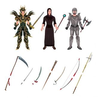 Avatar médiéval avec des armures et des armes isolé objets vecteur illustrateur