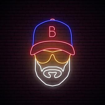 Avatar néon de l'homme avec une casquette de baseball