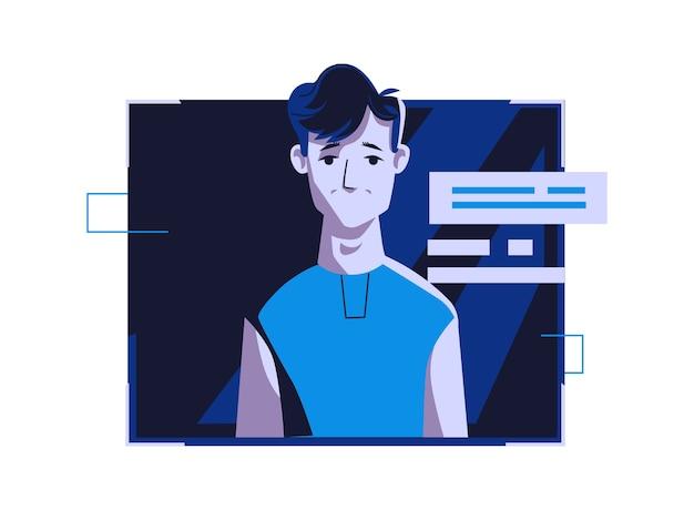 Avatar de personnes modernes dans des vêtements décontractés, illustration de dessin animé de vecteur. homme avec visage et cheveux individuels, dans un cadre numérique clair sur ordinateur bleu foncé, photo pour profil web