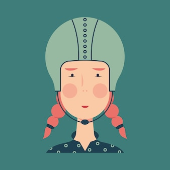 Avatar pour une motocycliste aux cheveux roux en casque