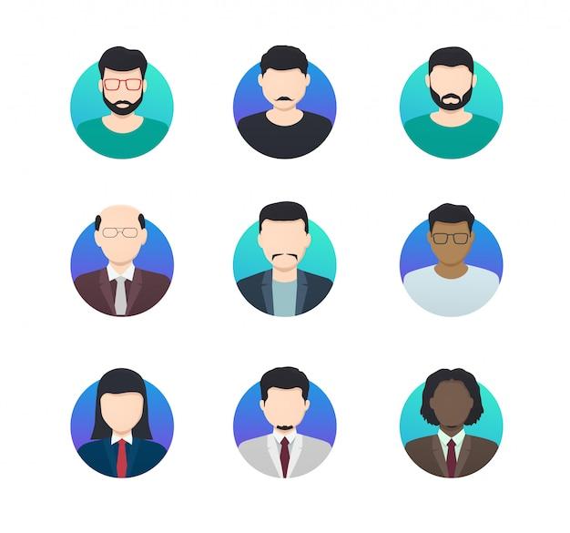 Avatar profile des icônes minimalistes des personnes anonymes de différentes nationalités.