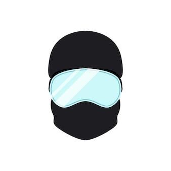 Avatar de snowboarder en casque et lunettes. icône de vecteur de sportif.