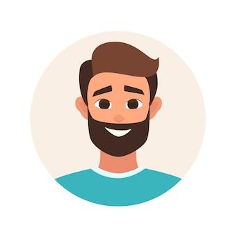 Avatar de vecteur souriant expression faciale de l'homme