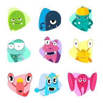 Avatars de dessin animé mignon et icônes. jeu de vecteur de visages de monstre