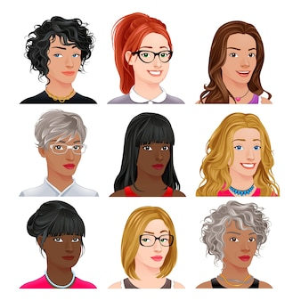 Avatars différents personnages féminins vecteur isolés