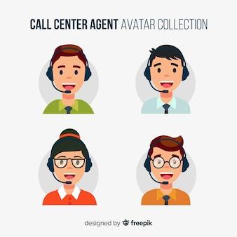 Avatars du centre d'appels en style plat