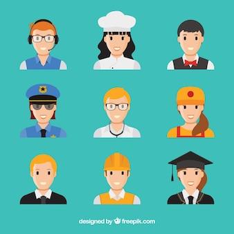 Les avatars d'emplois avec le visage souriant