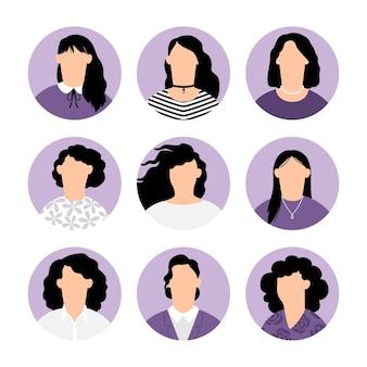 Avatars féminins sans visage. portraits anonymes humains féminins lilas, icônes d'avatar de profil rond