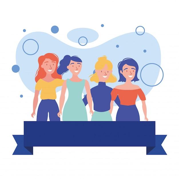 Avatars femmes amis avec dessin vectoriel ruban
