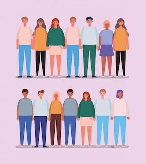 Avatars de femmes et d'hommes, personnes et illustration de thème humain
