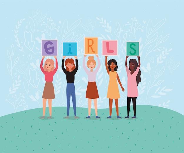 Avatars femmes tenant des bannières de texte filles