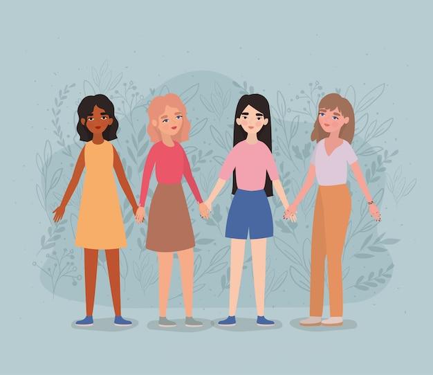 Avatars femmes tenant par la main