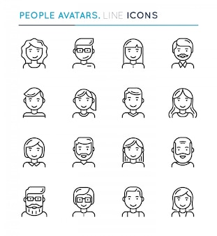 Avatars de gens mince ligne icon set.