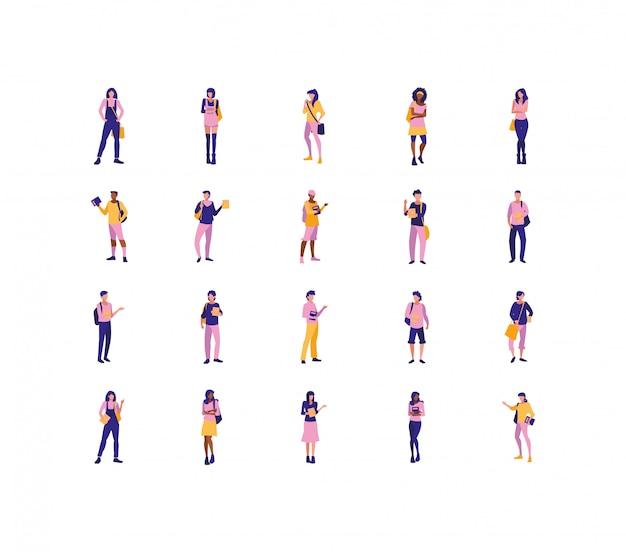 Avatars isolés de femmes et d'hommes