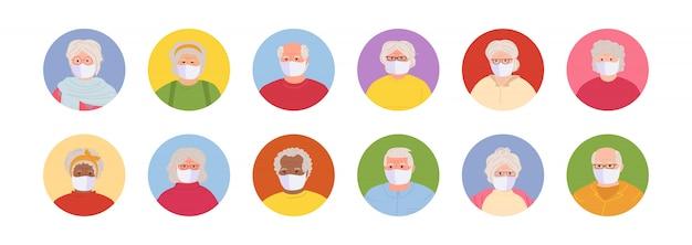 Avatars masqués personnes âgées définies style cartoon. les personnes âgées multi-nationalité font face à la collection homme et femme.